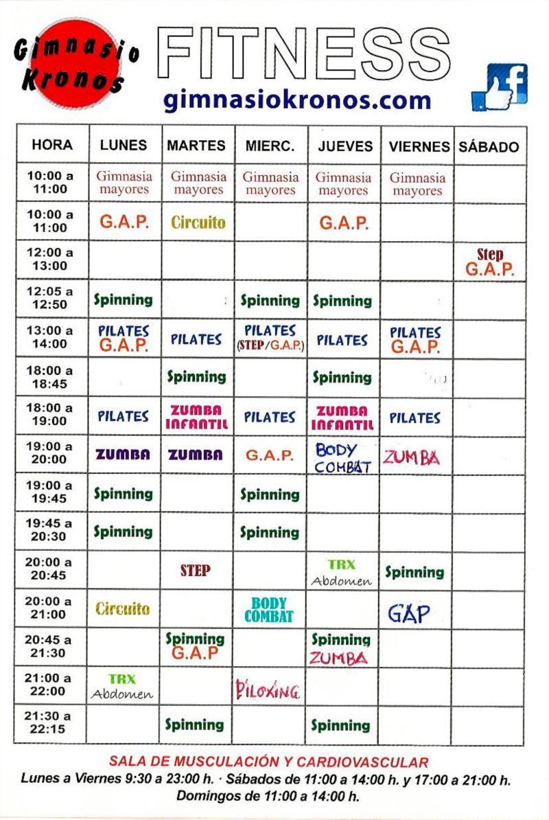 Gimnasio kronos horarios fitness for Horario gimnasio