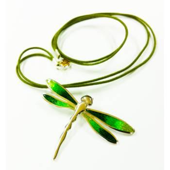 "Colgante ""Libélula"" verde (plata y esmalte)"