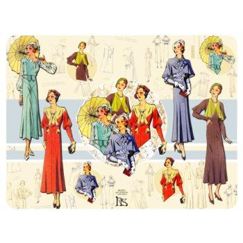 Salvamanteles. Colección Bocetos de moda años 20 y 30