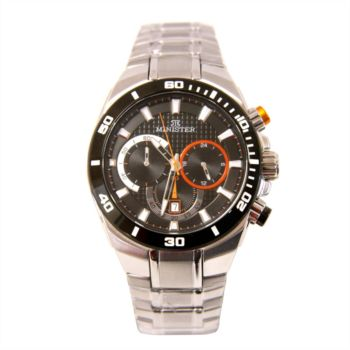Reloj analógico y cronógrafo Minister 8775Na color negro y naranja hombre