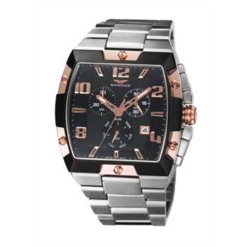 Reloj analógico cronógrafo y acero Sandoz 81321-95 color negro y rosa hombre brazalete caractere