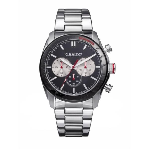 104f8e51845c Reloj analógico cronógrafo y acero Viceroy 46605-57 color plata y negro  brazalete hombre