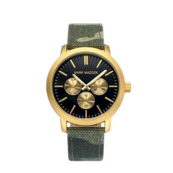 Reloj analógico cronógrafo y multifunción Mark Maddox Hc3025-57 color verde y dorado brazalete hombre